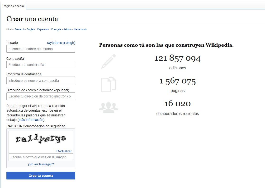 Imagen de cómo crear una cuenta en Wikipedia rellenando el formulario