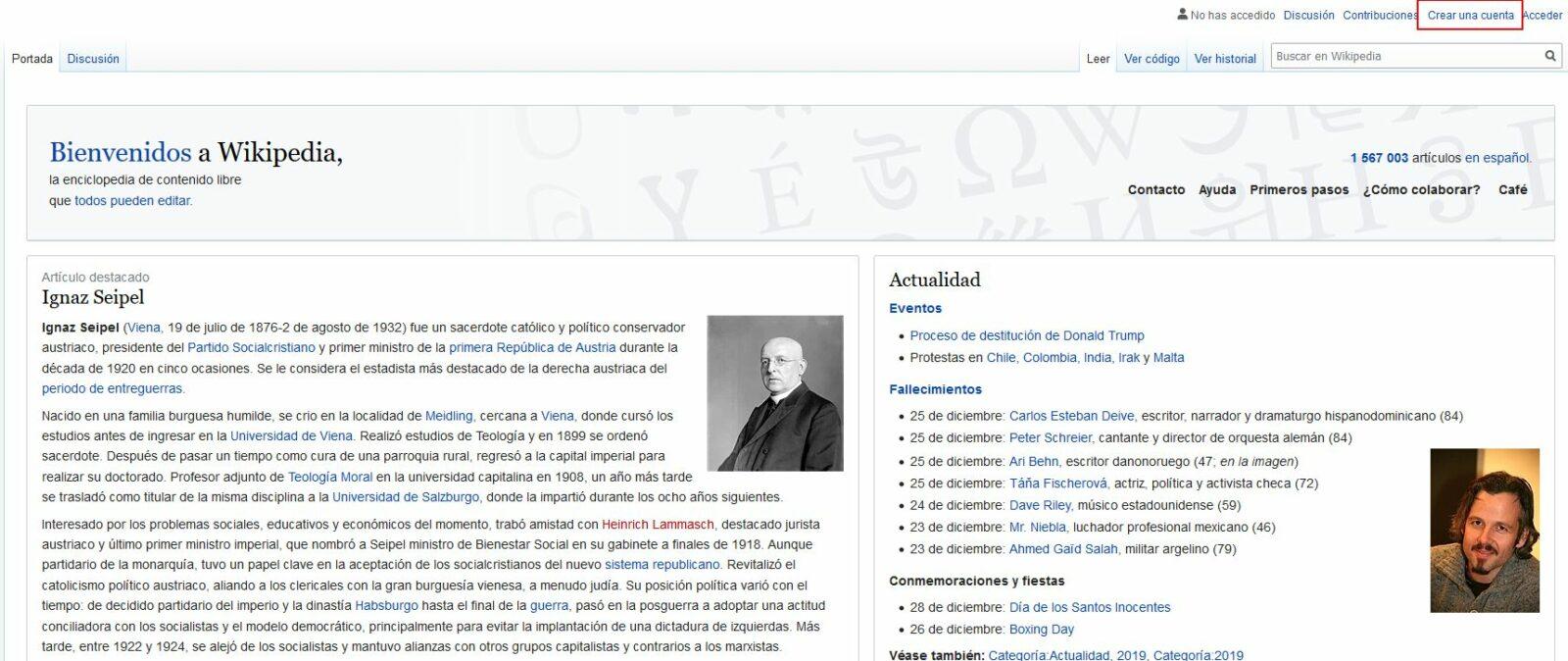 Imagen de cómo crear una cuenta en Wikipedia