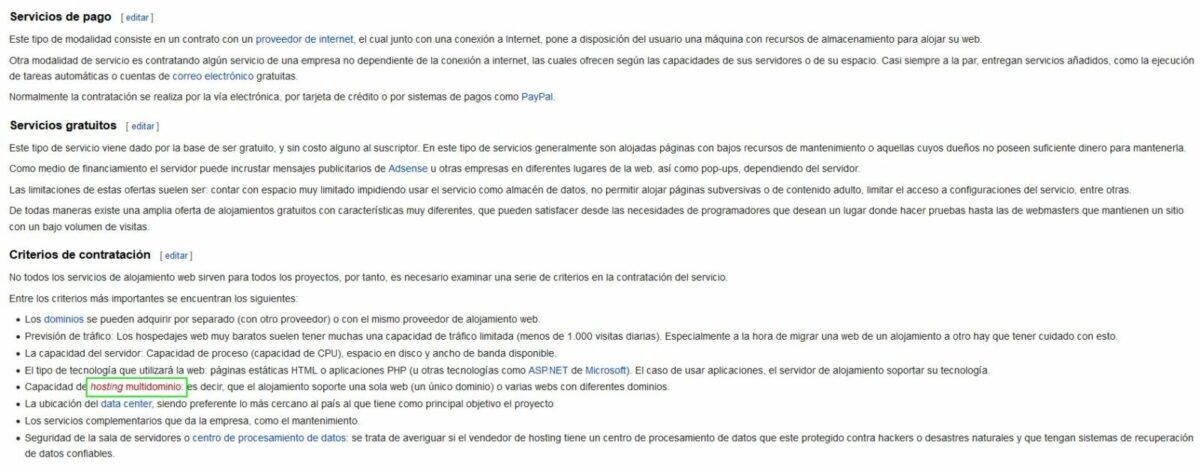 Imagen de cómo crear una página en Wikipedia para el término hosting multidominio