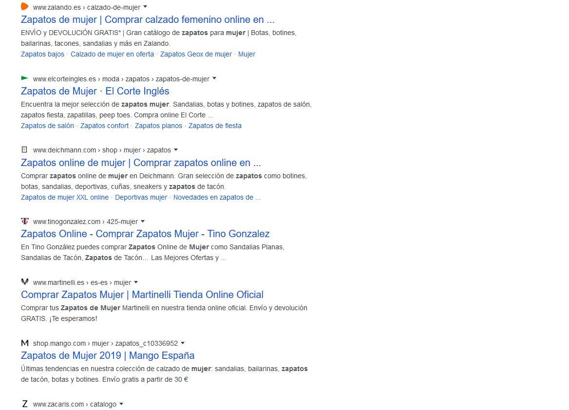 Imagen de una búsqueda en Google para zapatos de mujer, haciendo SEO ecommerce