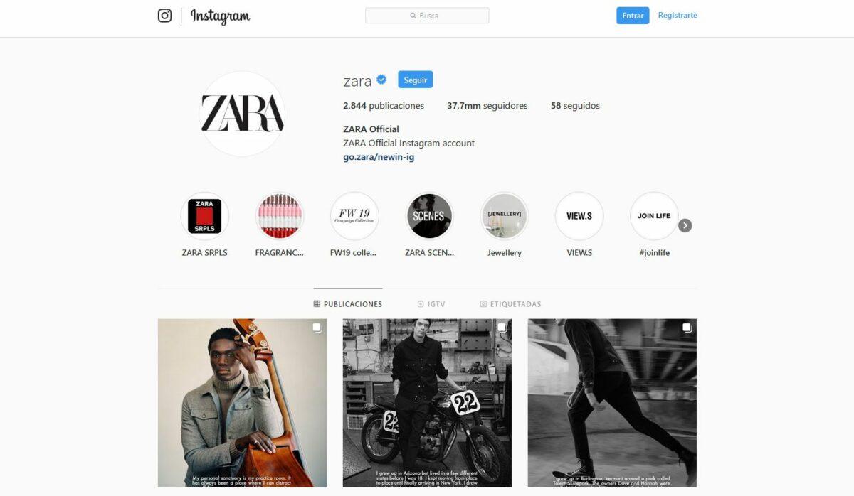 Imagen del perfil de Zara en Instagram