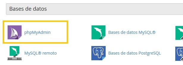 cPanel Bases de datos cambiar URL