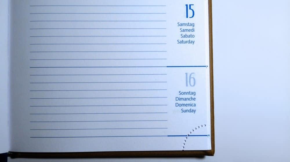 Agenda con calendario