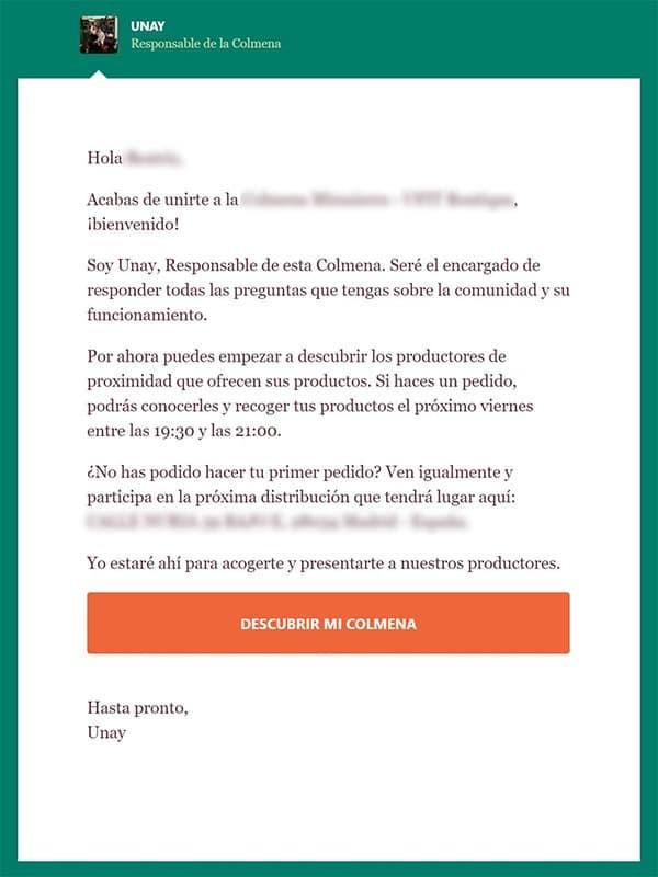 Colmena Email Bienvenida