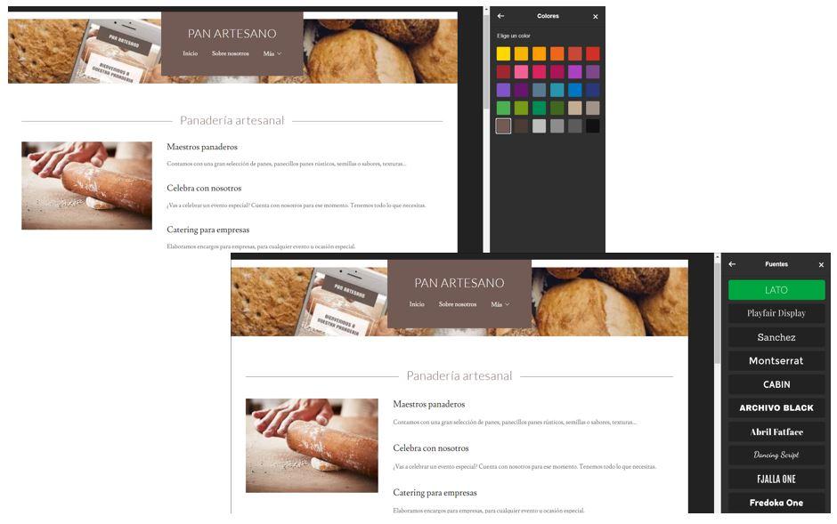 Pantalla cambiar fuentes y colores en el Creador de sitios web