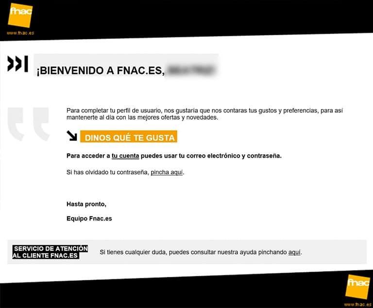 Fnac email bienvenida