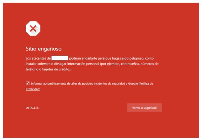 Alerta de Google: Página potencialmente peligrosa