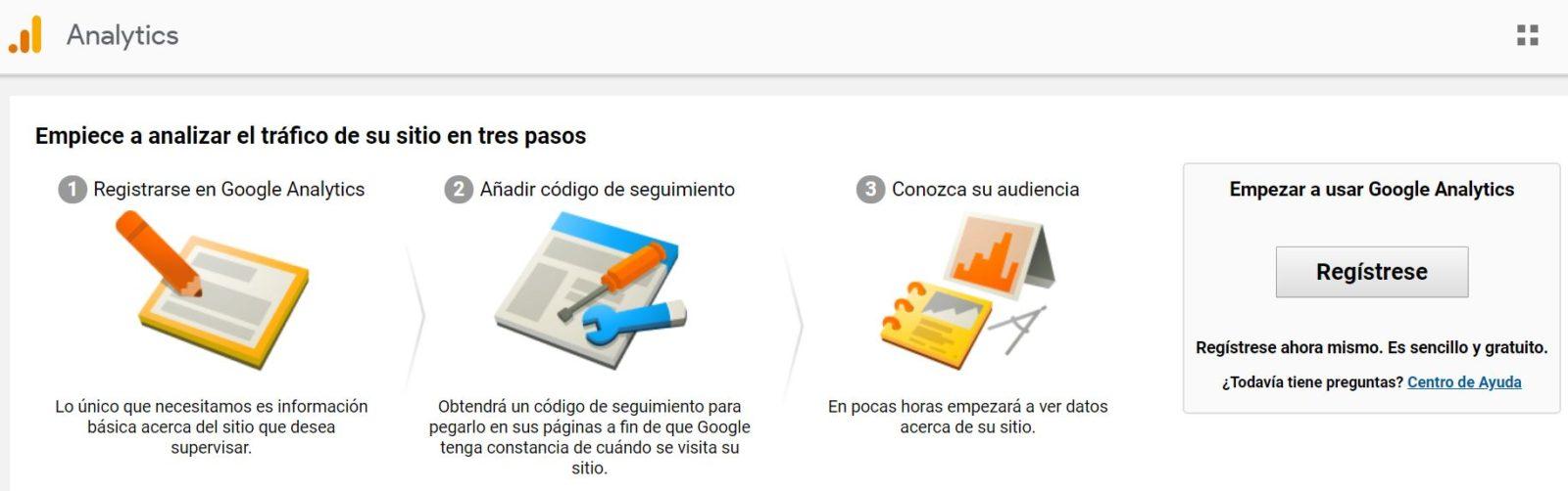 Registro Google Analytics