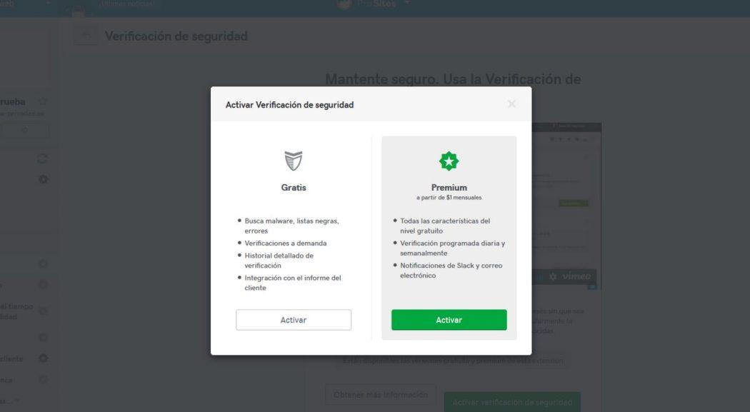 """Imagen de activación de """"Seguridad"""" en Pro Sites, con dos opciones"""
