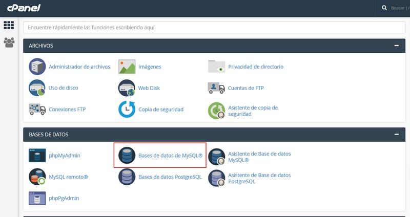Imagen de botón para crear bases de datos en cPanel