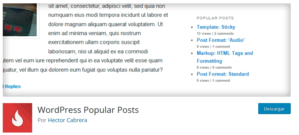Captura plugin WordPress Popular Posts