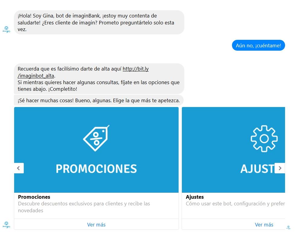 Ejemplo de un chatbot en Facebook Messenger