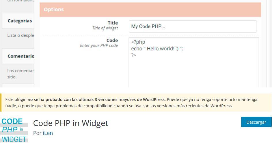 Imagen de Code PHP in Widget, un plugin WordPress para insertar código PHP en cualquier web.