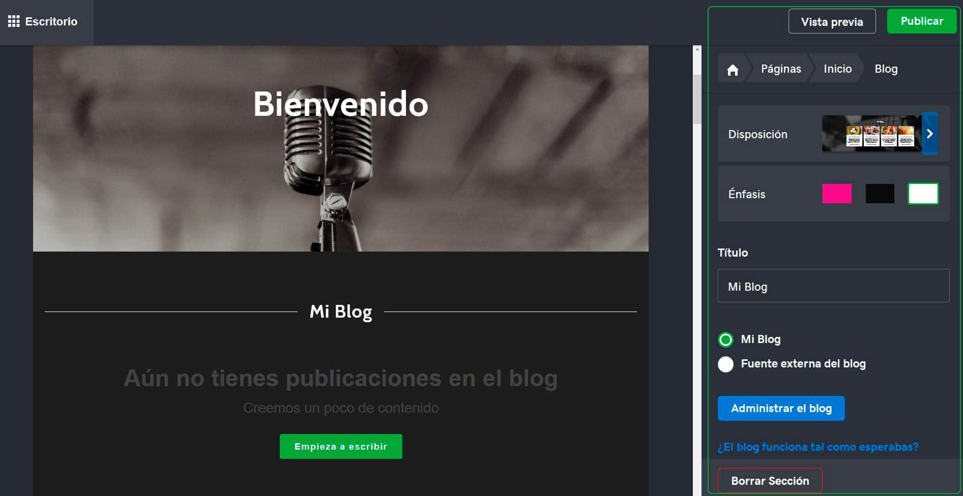 configurar blog