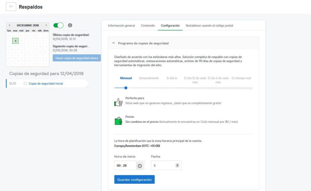 Imagen de Pro Sites donde se muestra Cómo realizar una copia de seguridad automática