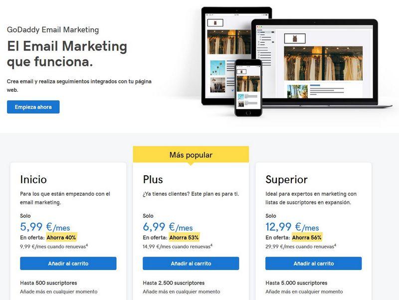 Imagen de la página web de GoDaddy con los productos de correo electrónico profesional