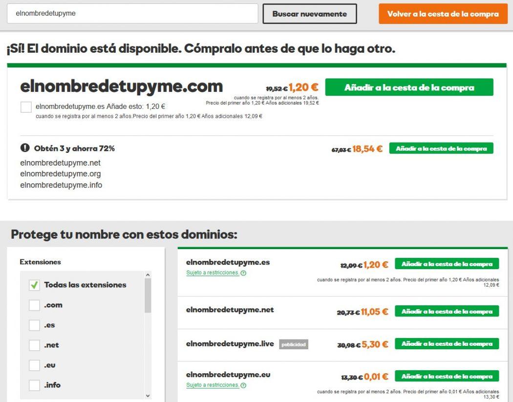 Costes de una página web dominio
