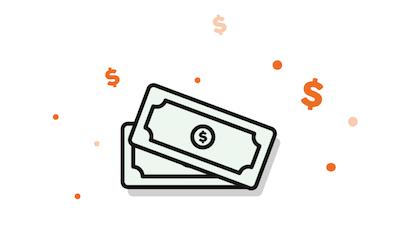 Imagen de billetes denotando el coste de un servicio
