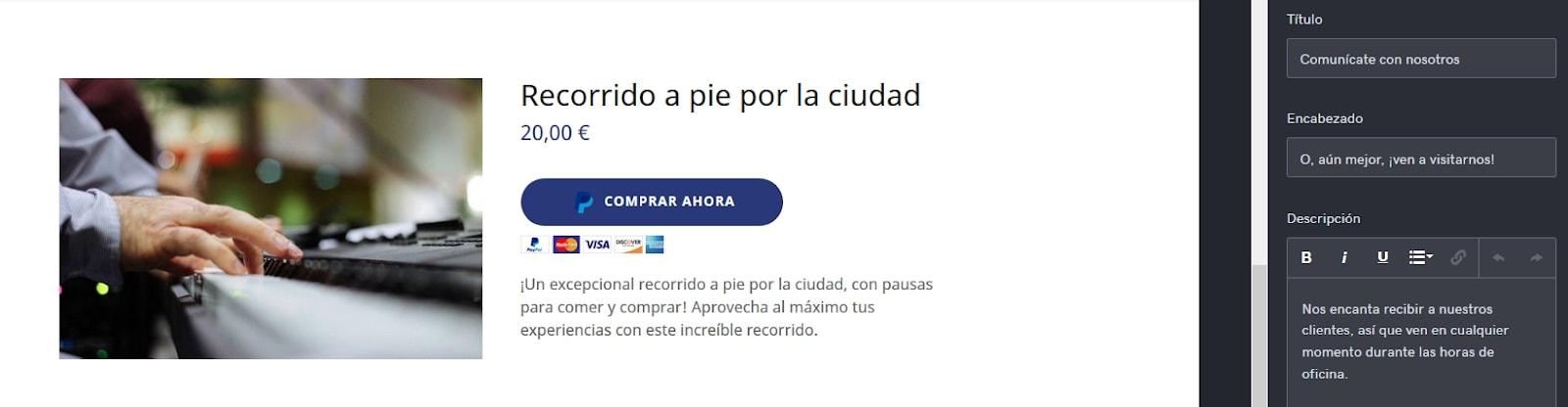 Creador de sitios web: integración con PayPal