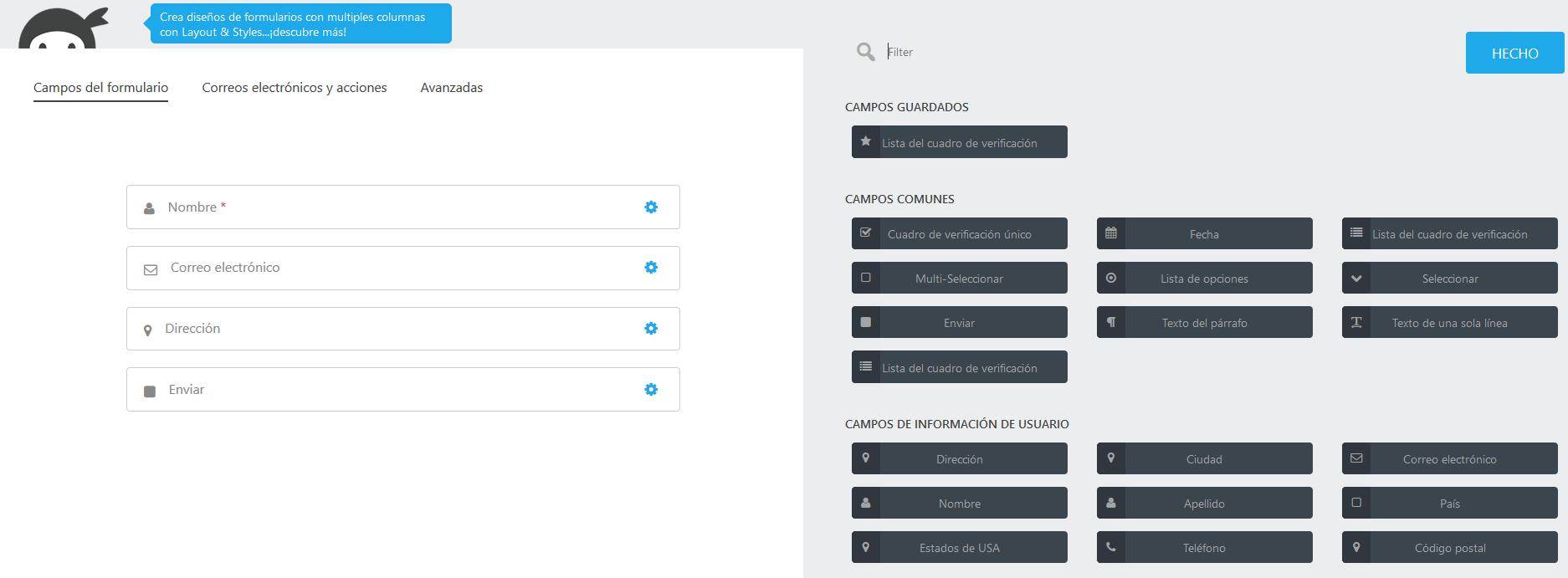 Crear un formulario de contacto con Ninja Forms