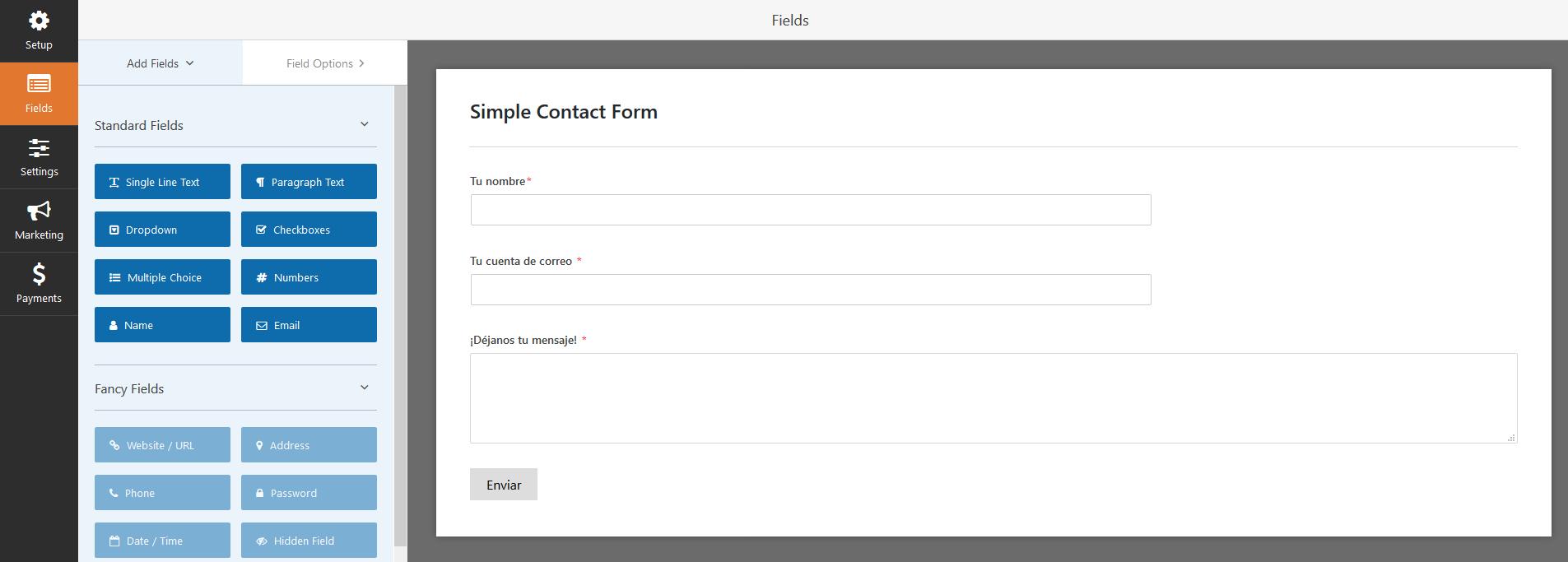 Crear un formulario de contacto con WP Forms