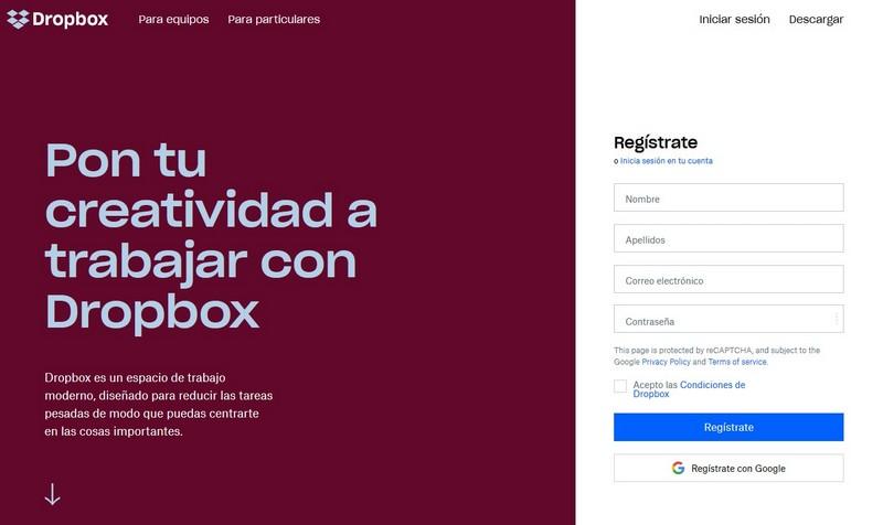 Imagen de portada de la web de Dropbox, la herramienta para guardar todos los documentos de tu empresa