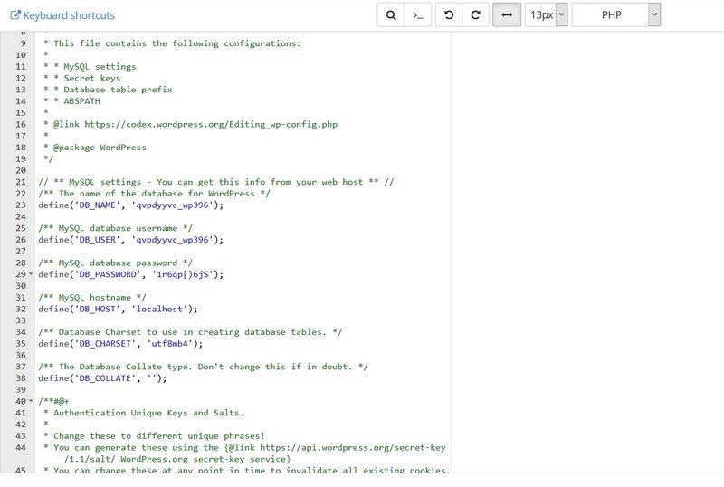 Pantalla del editor de archivos PHP de cPanel