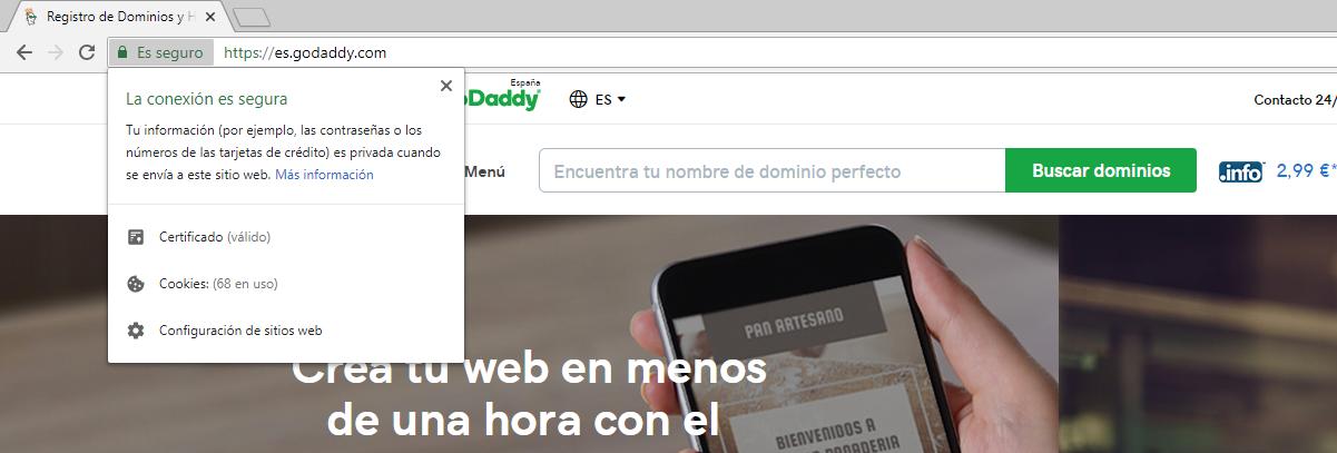 Ejemplo de conexión cifrada con SSL en GoDaddy