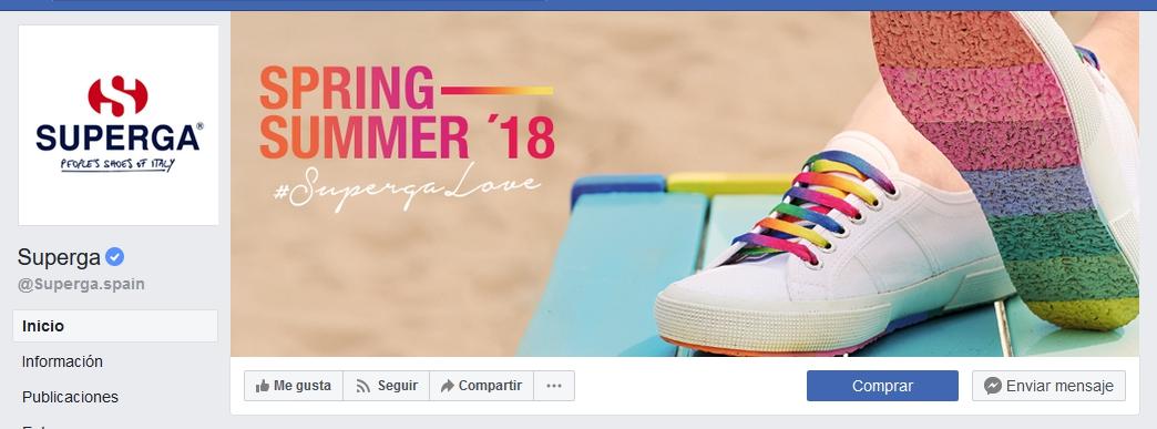 Ejemplo CTA en la página de Facebook de Superga