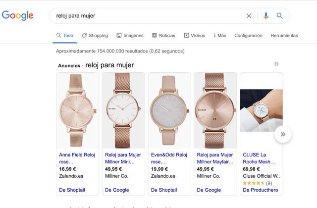 Google Shopping para San Valentín