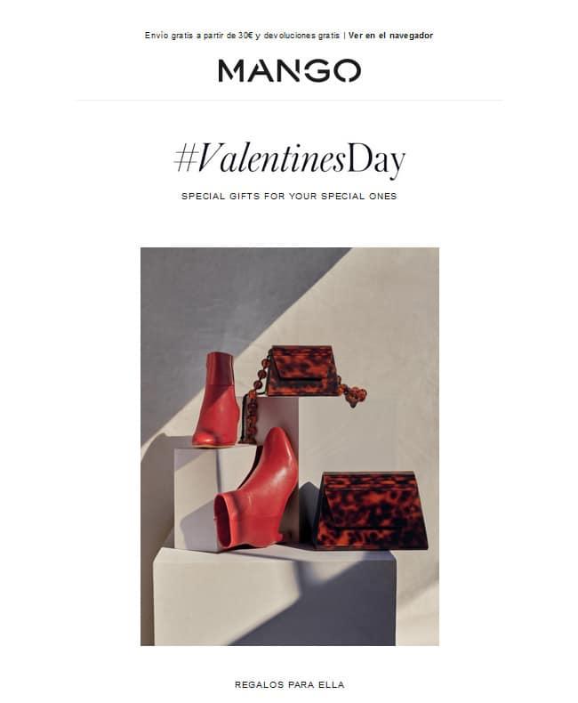 Ejemplo de campaña de email marketing de Mango.com