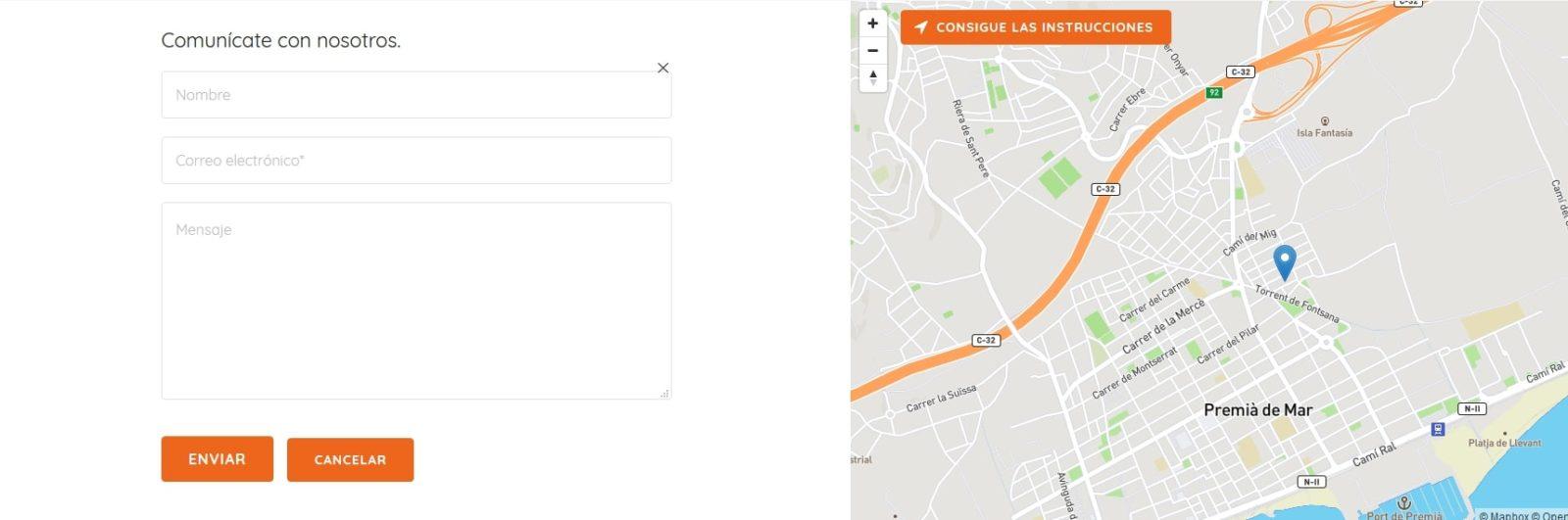 Ejemplo de la sección de contacto de CopiCotet
