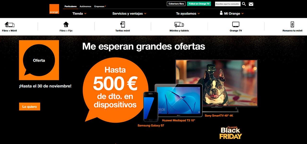 Ejemplo de la estrategia de ventas para el Black Friday de Orange