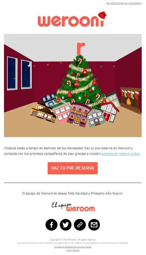 Estrategia de Email Marketing navideño de Weroom