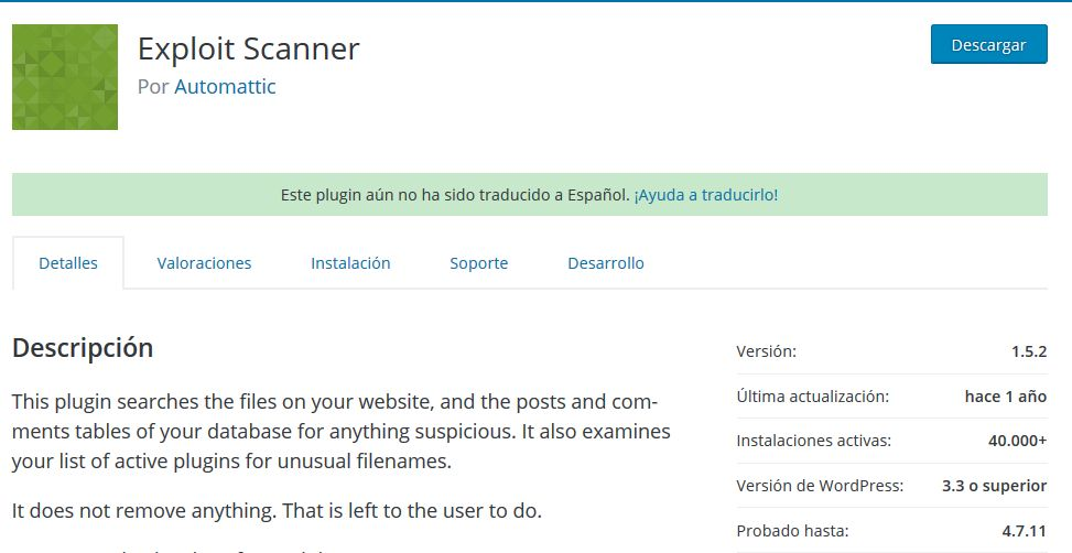Imagen de Exploit Scanner, un plugin WordPress con más de un año sin recibir actualizaciones