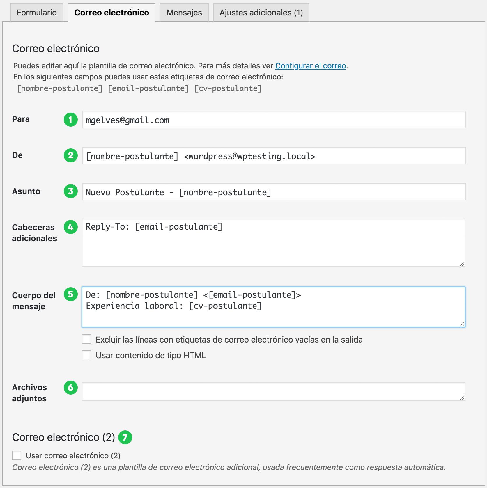 Formulario de configuración de correo contact form 7