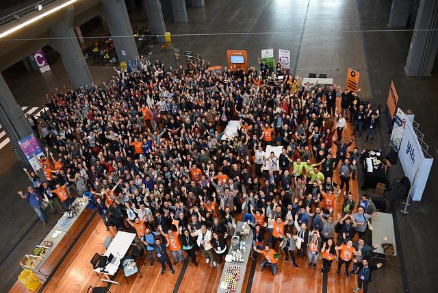 Foto de familia de la WordCamp Madrid 2018