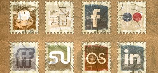 Iconos redes sociales vintage