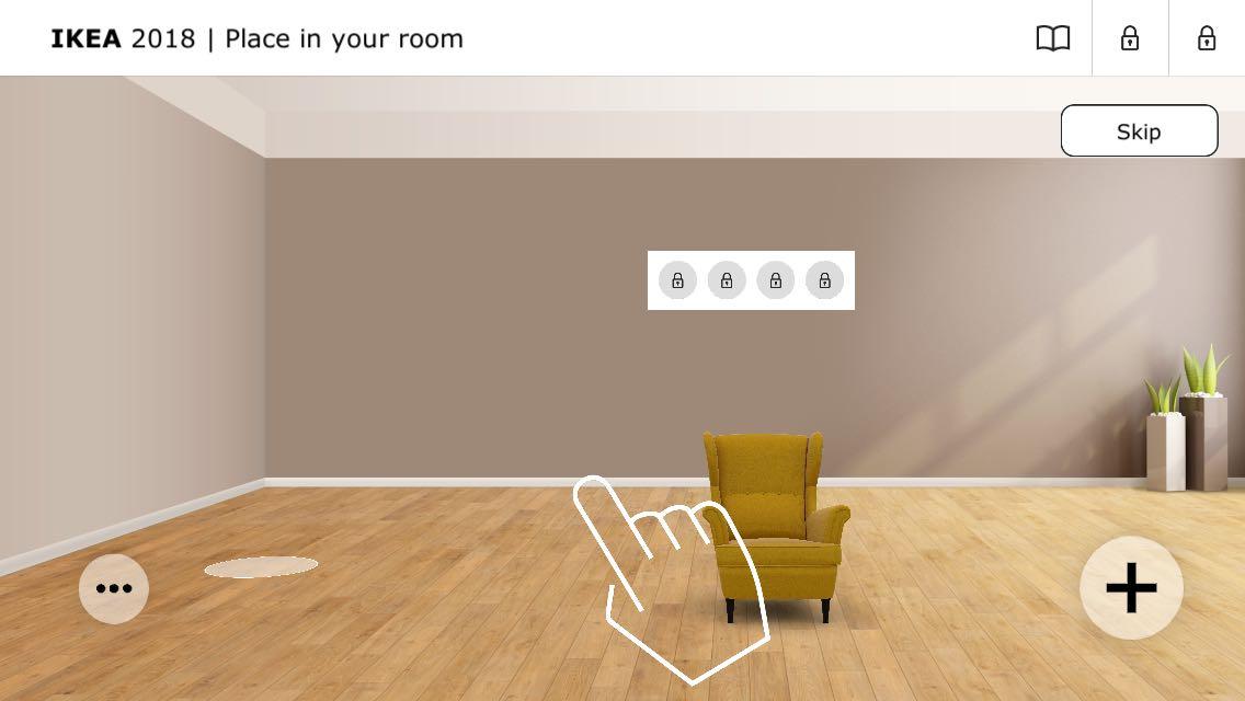 Ejemplo de realidad aumentada en la app de IKEA