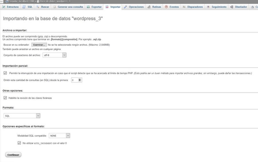 Primera pantalla que muestra cómo importar una base de datos