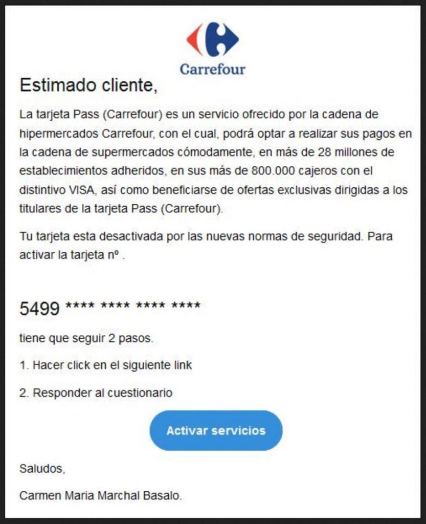 Intento de phishing con Carrefour