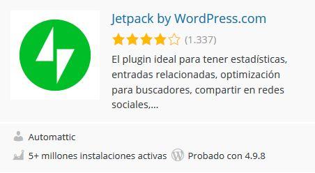 Imagen del plugin Jetpack WordPress, sacada del repositorio oficial de WordPress