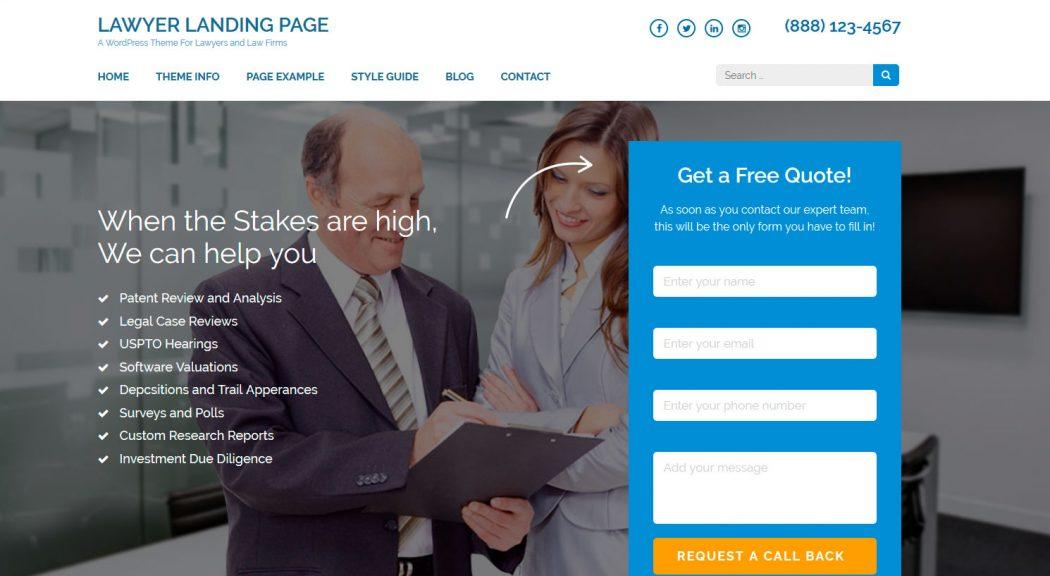 lawyer plantillas landing page gratis