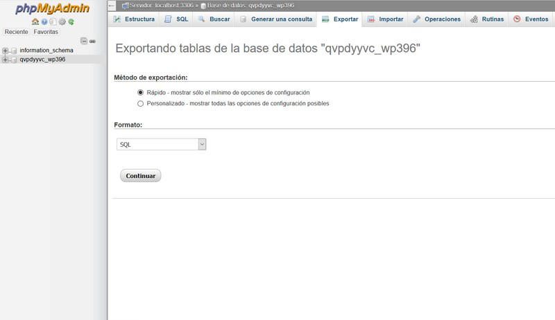 Imagen de los métodos de exportación de bases de datos en phpmyadmin