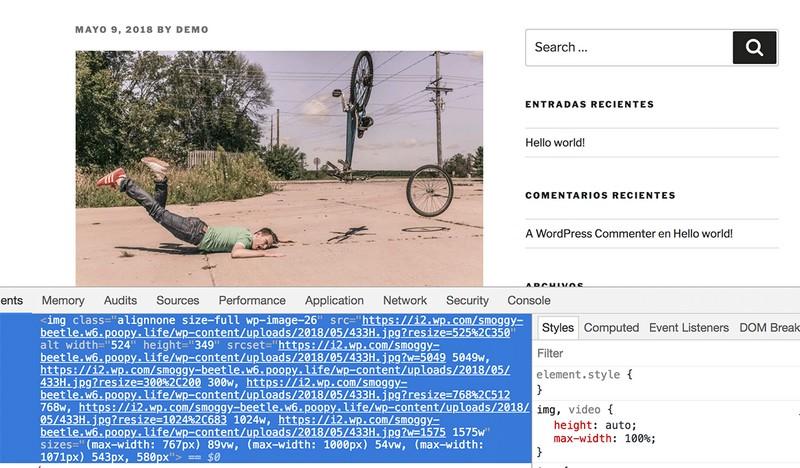 Imagen de cómo cambian las imágenes incluidas en una web a través del plugin Jetpack
