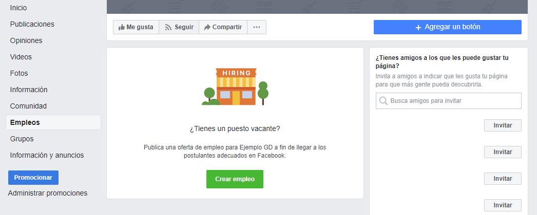 Publicar ofertas de empleo en las páginas de Facebook