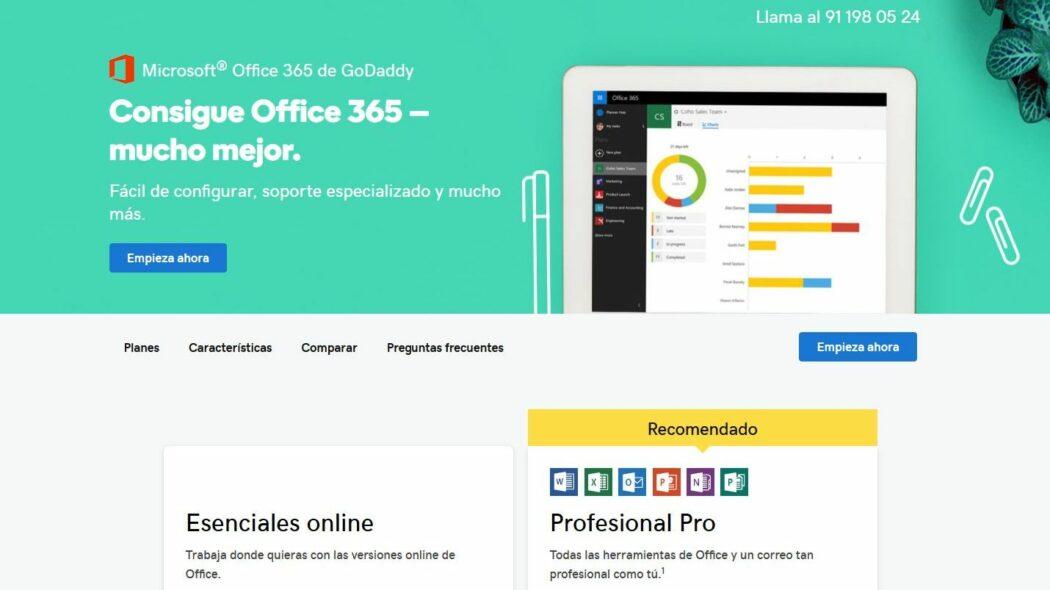 Imagen de los productos de Office 365 en GoDaddy, que incluyen Microsoft Outlook