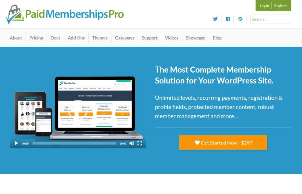 Imagen de la página principal de Paid Memberships Pro