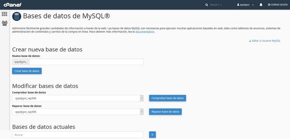 Imagen de la pantalla de creación de bases de datos