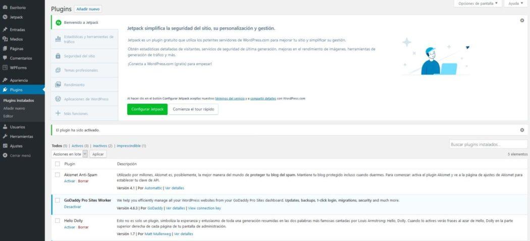 Imagen de configuración de Jetpack by WordPress una vez instalado